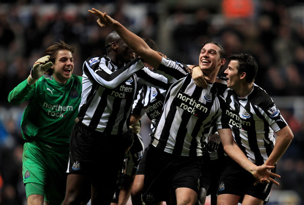 Players celebrate as they secure Pardew's first win in his first game. Picture courtesy of The Telegraph.