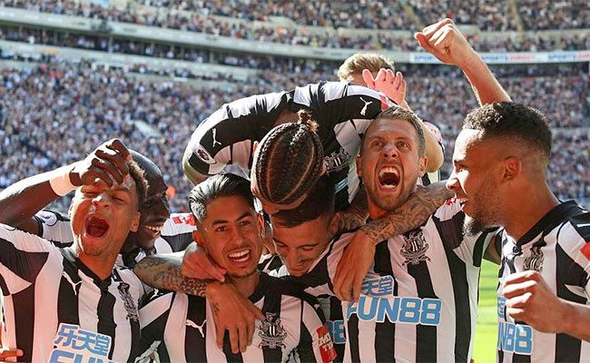 The third goal from the 3-0 win back in May is celebrated to finish the season on a high. Picture courtesy of The Mag.