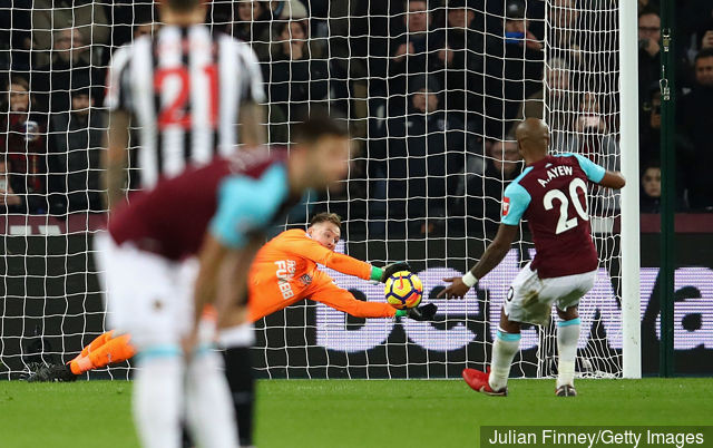 Rob Elliot saved a penalty in this fixture last season proving crucial to getting the three points. Picture courtesy of HITC.