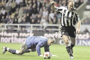 Shearer scores past Antonios Nikopolidis, who won Euro 2004 with Greece. Shearer gets closer to Jackie Milburn's record in the process. Picture courtesy of The Times of Malta.