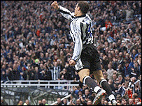 Robert celebrates one of his many wonder strikes in a Newcastle shirt. Picture courtesy of BBC.
