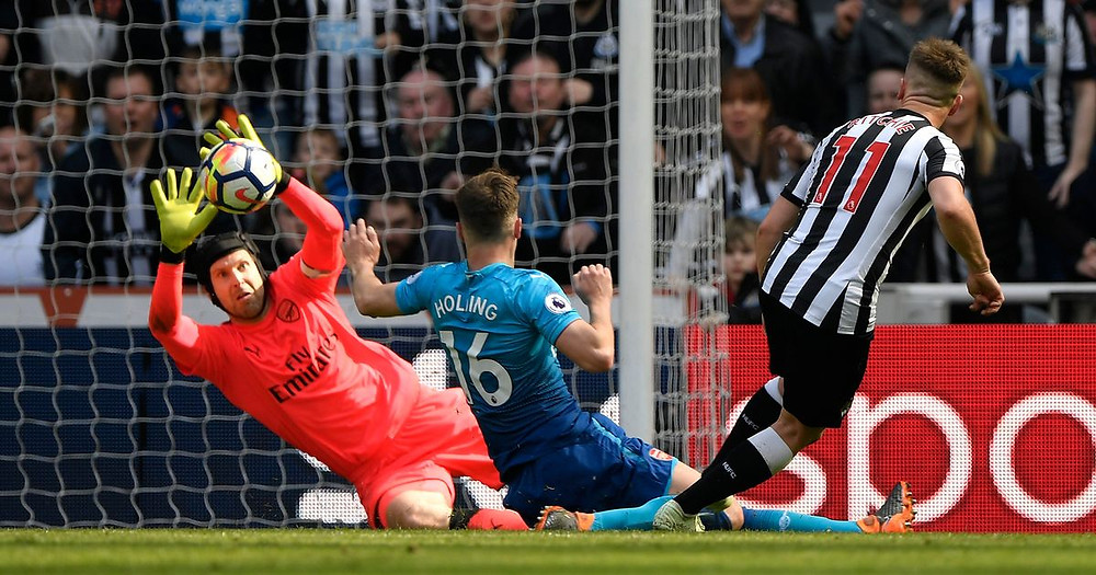 Ritchie scoring the winning goal against Arsenal. Picture courtesy of Chronicle Live.
