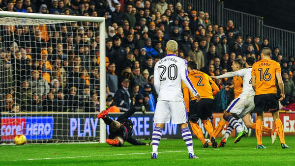 Mitrovic scoring the winner at Molineux to secure victory in his 50th league match for Newcastle. Picture courtesy of NUFC.