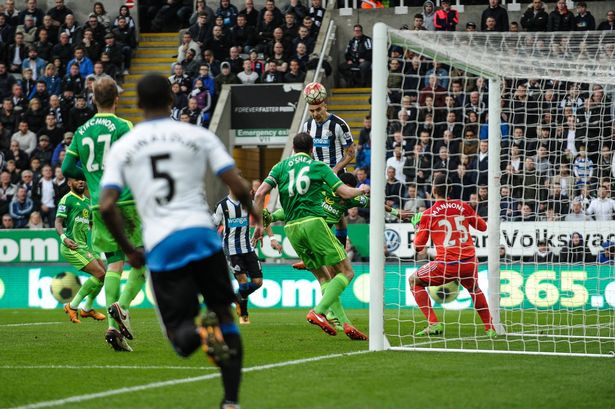Mitrovic scores the equaliser against Sunderland and scores the first Newcastle goal under Rafa Benitez. Picture courtesy of The Chronicle Live.