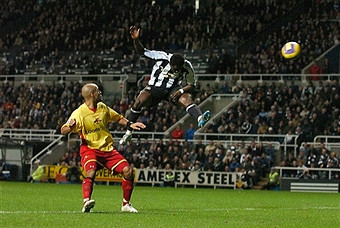Martins heads home the opening goal in our only Premier League win over Watford.