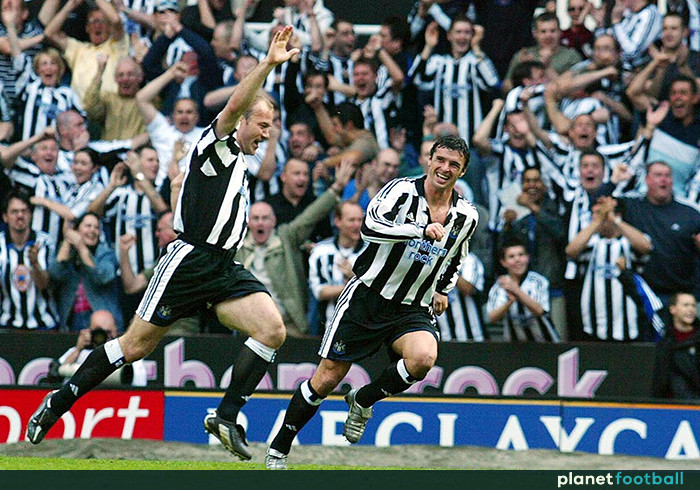 Shearer celebrates the winning goal against Chelsea in April 2004 with teammate Gary Speed. Picture courtesy of Planet Football.