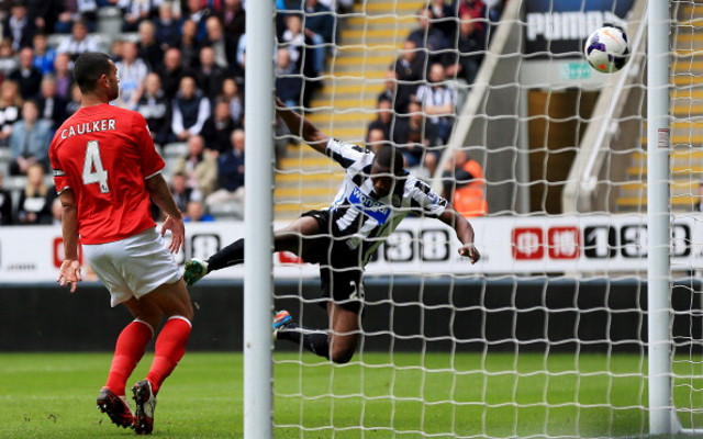 Shola opens the scoring with his last goal for the club on his final game at St. James' Park. Picture courtesy of Caught Offside.