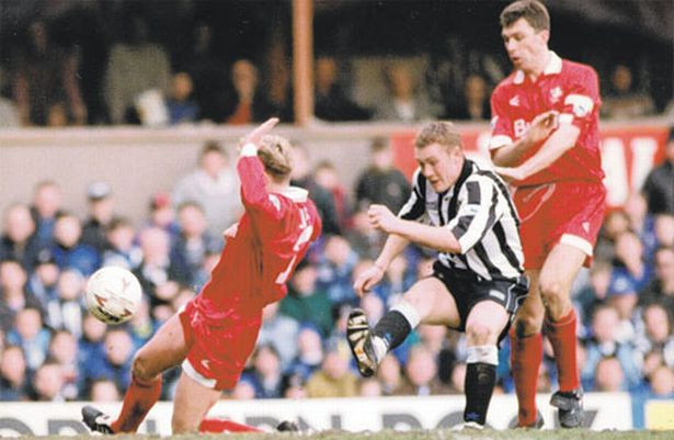 Steve Watson scores his first and Newcastle's fifth as they thrash Swindon 7-1. Picture courtesy of The Chronicle.