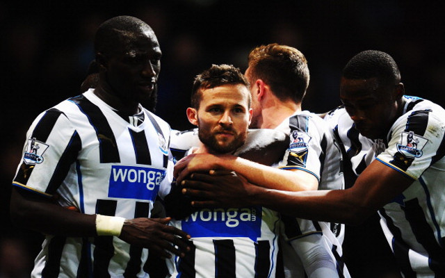 Cabaye celebrating the goals in his last game for Newcastle. Picture courtesy of Caught Offside.com