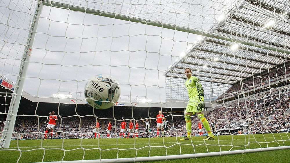 Stockdale could do nothing to stop Shelvey's free kick. Picture courtesy of Newcastle United.