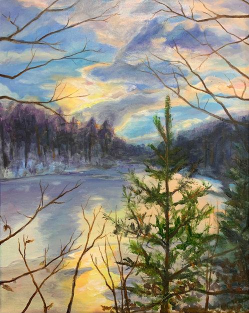 Strahl Lake Winter Sunset