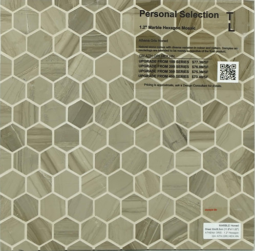 Personal Selection Marble hexagon mosaic athena gris honed