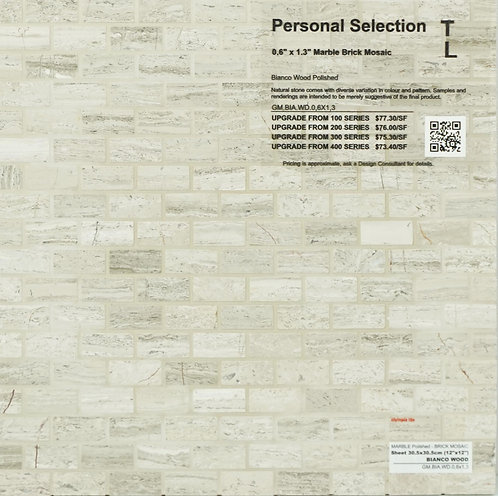 Personal Selection Marble brick mosaic bianco wood polished