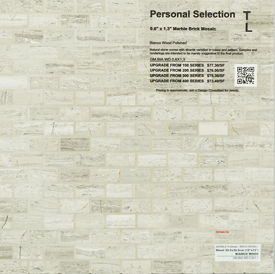 Personal Selection Marble brick mosaic bianco wood polished