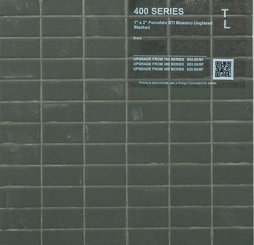 """400 shower floor porcelain STI mosaico stacked black unglazed 1"""" x 2"""""""