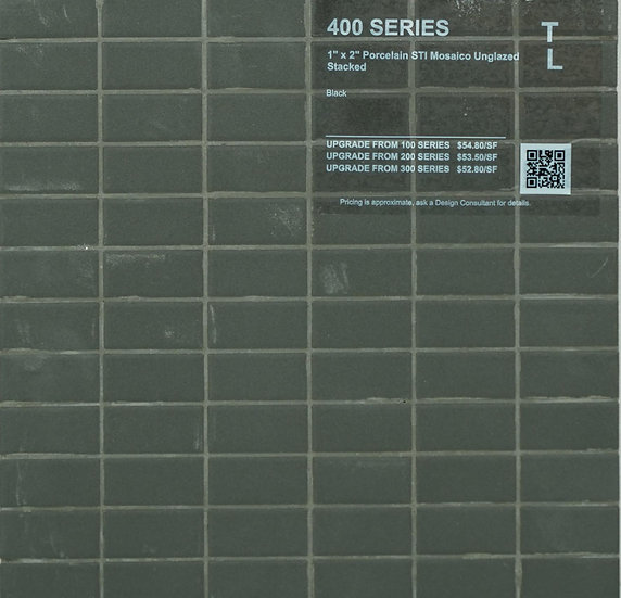 "400 shower floor porcelain STI mosaico stacked black unglazed 1"" x 2"""