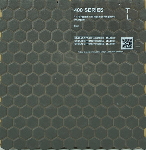 400 shower floor porcelain STI mosaico hexagon black unglazed 1""