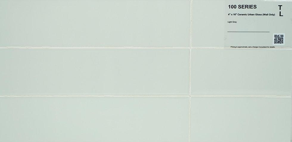 "100 Backsplash ceramic urban gloss light grey 4""x16"""
