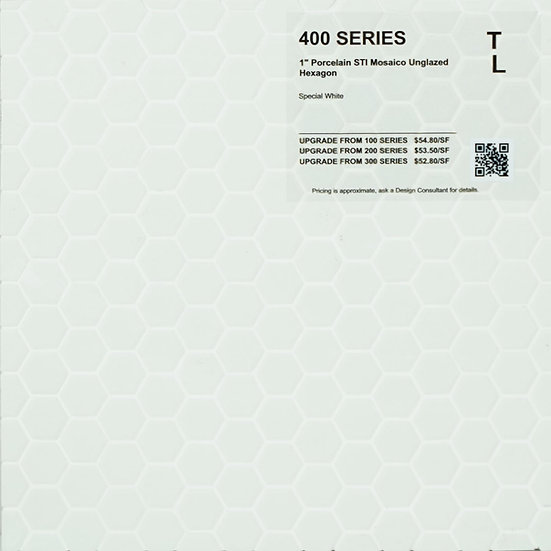 "400 shower floor porcelain STI mosaico hexagon special white unglazed 1"""