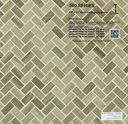 500 Marble herrinbone mosaic athena gris honed