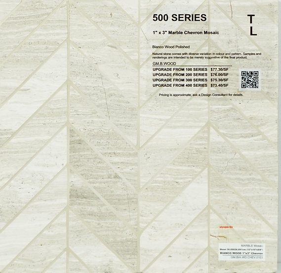 "500 Marble chevron mosaic bianco wood polished 1"" x 3"""