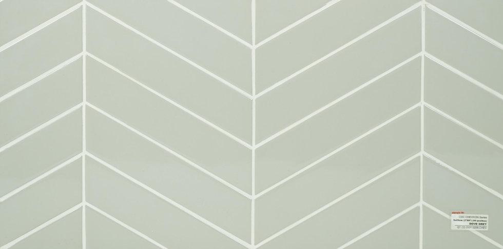 "Personal Selection ceramic glazed chevron dove grey 2"" x 9"""