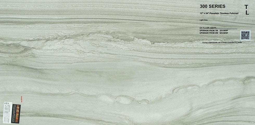 "300 Porcelain timeless polished light grey 12""x 24"""