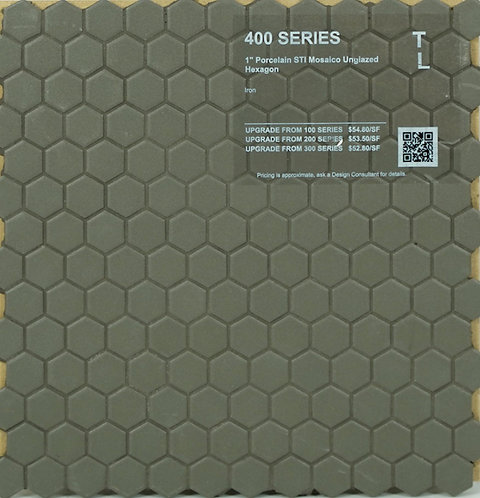 400 shower floor porcelain STI mosaico hexagon iron unglazed 1""
