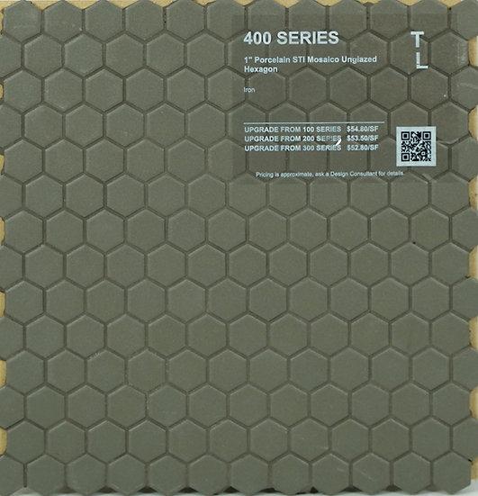 "400 shower floor porcelain STI mosaico hexagon iron unglazed 1"""