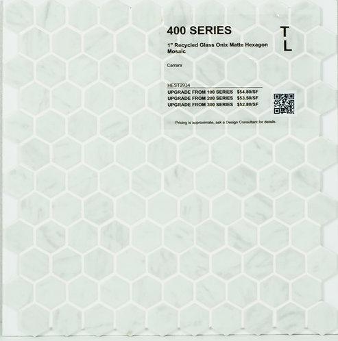 400 shower floor recycled glass onix matte hexagon matte mosaic carrara