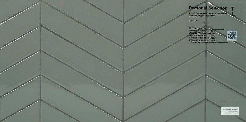 "Personal Selection ceramic glazed chevron sterling grey 2"" x 9"""