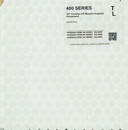 400 shower floor porcelain STI mosaico pennyround special white unglazed 1""