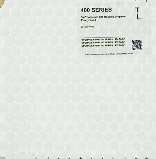 "400 shower floor porcelain STI mosaico pennyround special white unglazed 1"""