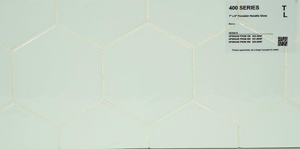 "400 Porcelain hexatile bianco gloss 7"" x 8"""