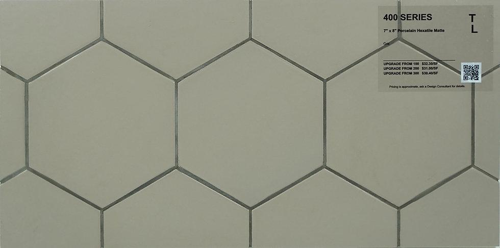 """400 Porcelain hexatile gris matte 7"""" x 8"""""""