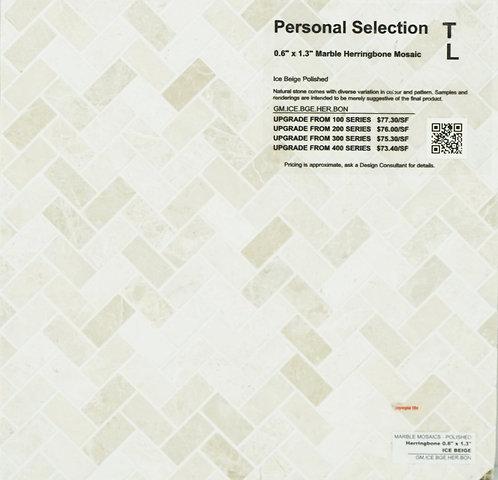 Personal Selection Marble herringbone mosaic ice beige polished