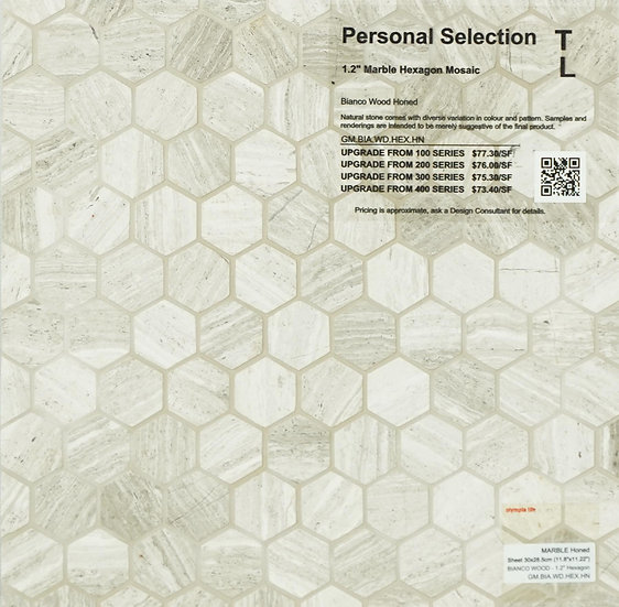 Personal Selection Marble hexagon mosaic bianco wood honed