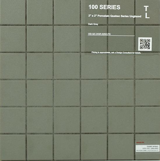 """100-300 shower floor porcelain Quebec unglazed dark grey 2"""" x 2"""""""