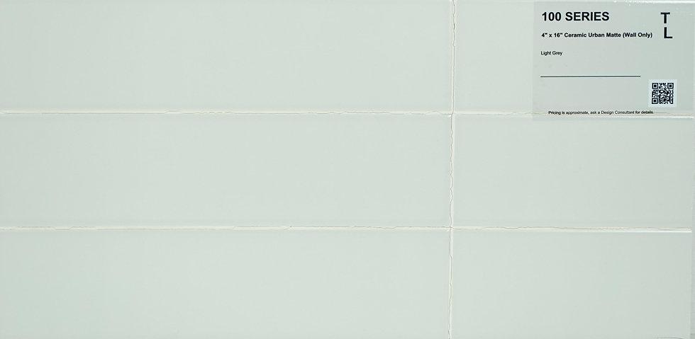 "100 Backsplash ceramic urban matte light grey 4""x 16"""