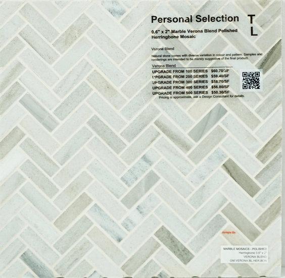 Personal Selection Marble herringbone mosaic verona blend polished