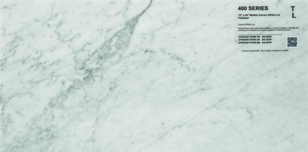 "400 Marble carrara white lux polished 12""x 24"""