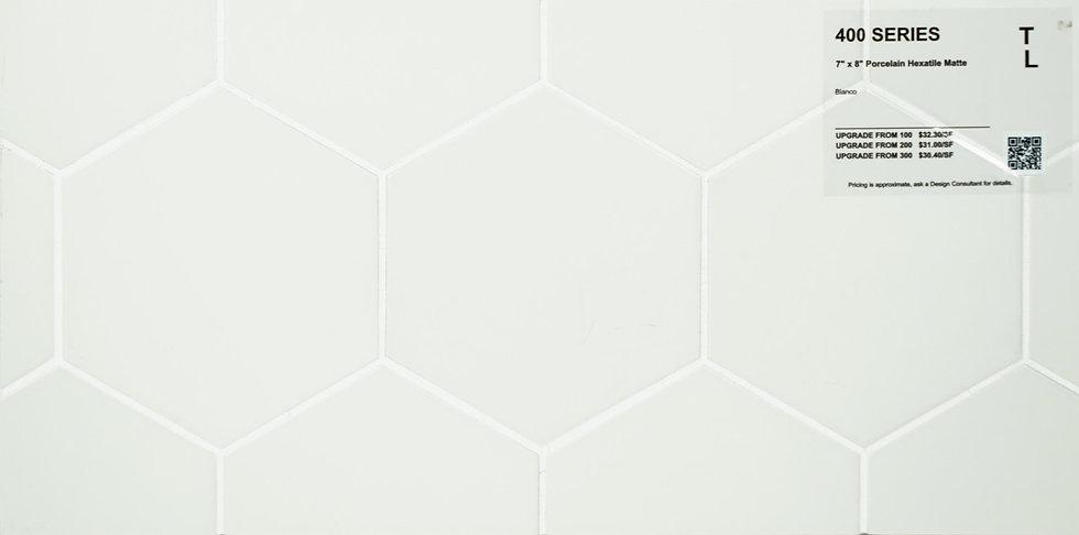 """400 Porcelain hexatile bianco matte 7"""" x 8"""""""
