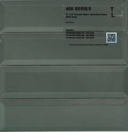"400 Ceramic metro bevelled dark grey gloss 3"" x 12"""
