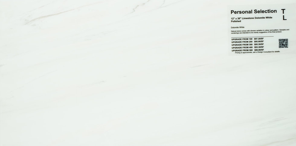 "Personal Selection Limestone dolomite white polished 12"" x 36"""