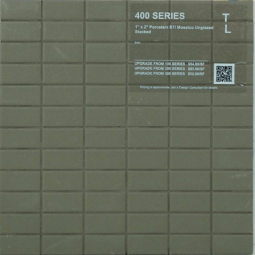 """400 shower floor porcelain STI mosaico stacked iron unglazed 1"""" x 2"""""""