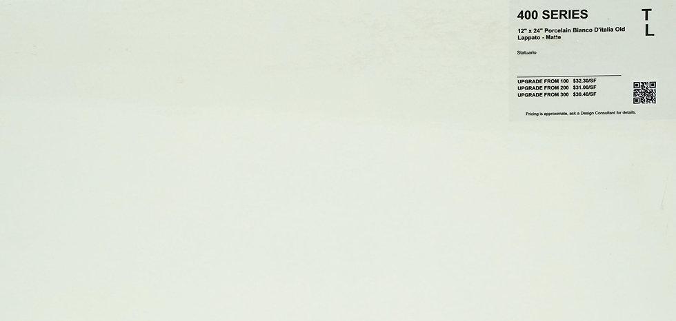 "400 Porcelain bianco di'italia matte Statuario 12""x 24"""