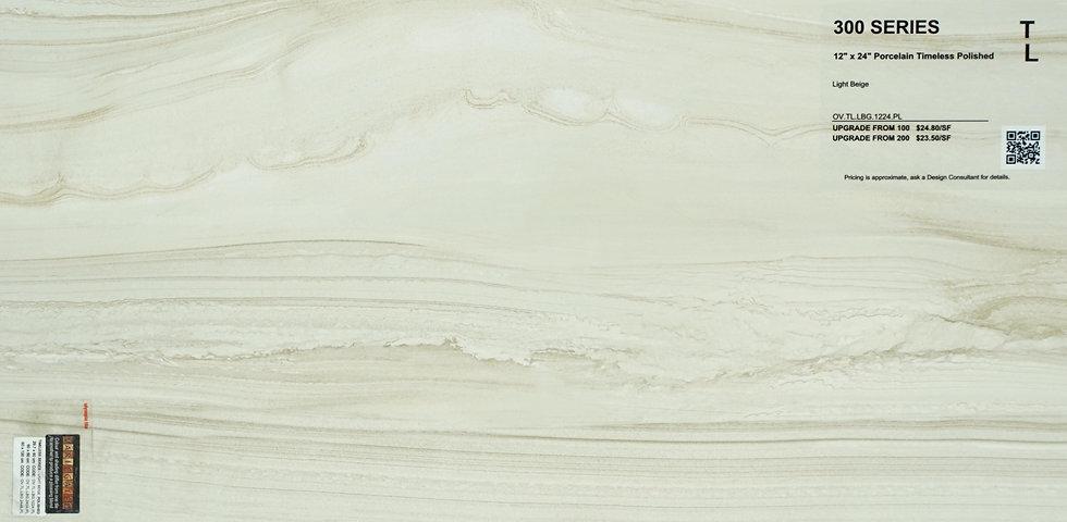 """300 Porcelain timeless polished light beige 12""""x 24"""""""