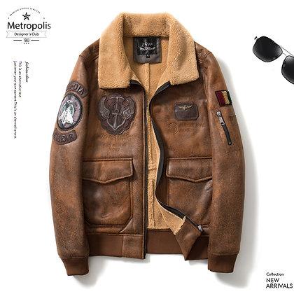 Men's PU Leather W/ Faux Fur Collar Flight Jacket