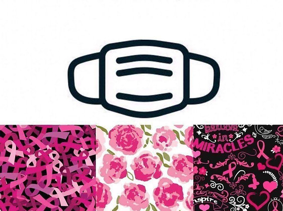 Pink Ribbons & Florals Face Masks 3/Pack - RTS