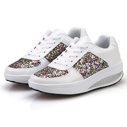 Ladies Sequin Wedges Sneakers